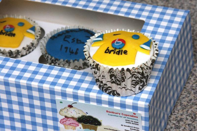 Oxford United theme - handmade cupcakes.