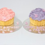 Giant Cupcake pink and purple for twin girls