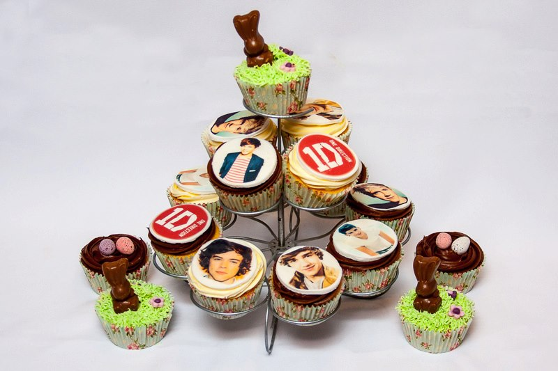 Birthday Cupcakes at Easter time - with One Direction edible cupcake toppers.